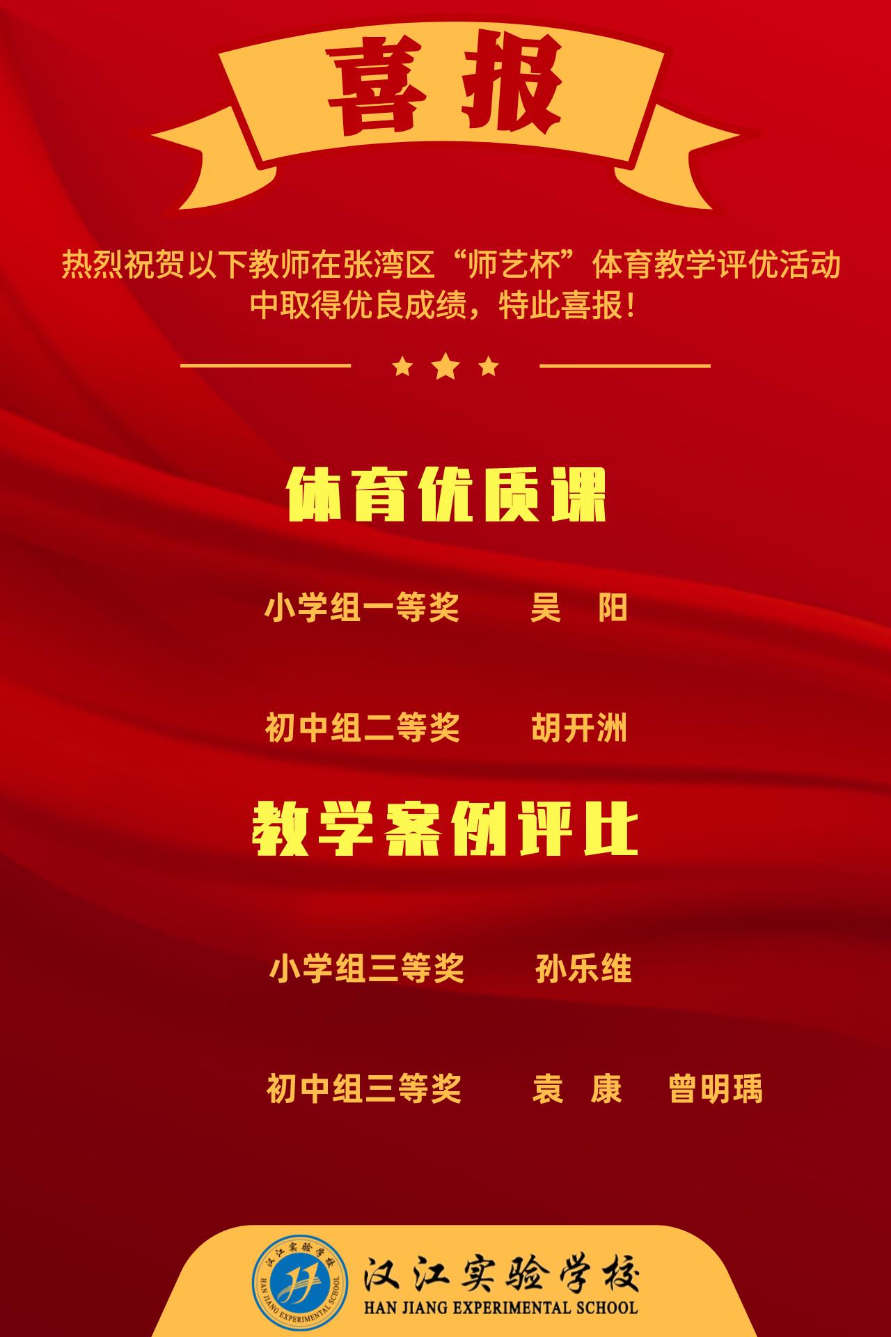 """喜讯——我校教师在张湾区第十五届""""师艺杯""""体育教学评优比赛中取得优异成绩"""
